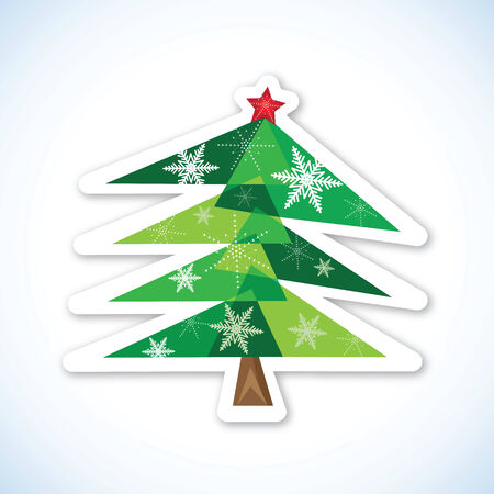 Green Christmas fir tree isolated on white background. Vector illustration. Illustration