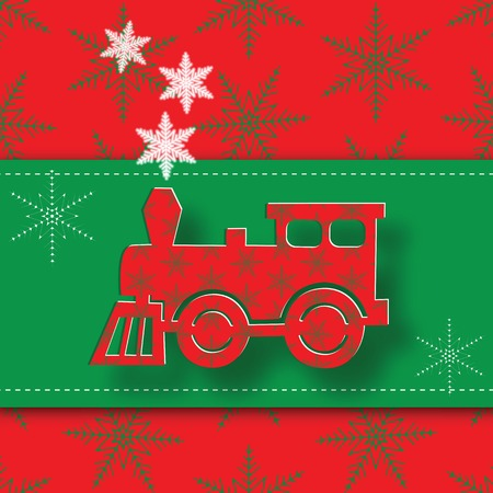 steam locomotive: New Year image of the steam locomotive. Vector illustration.