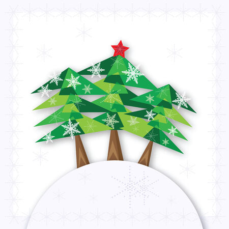 Three green Christmas fir trees on the hill on white background. Vector illustration. Vector