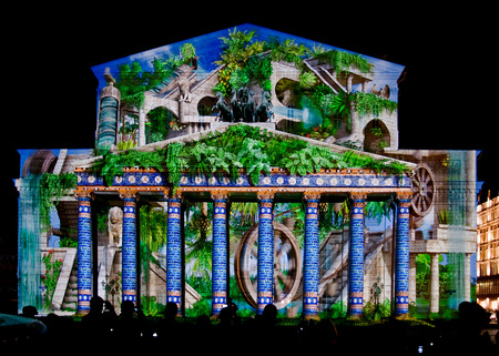 State Academic Bolshoi Theatre Opera and Ballet illuminated for international festival Circle of light, Moscow, October 13, 2014.