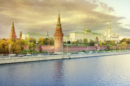 Autumn view of Moscow Kremlin at sunset, Russia.
