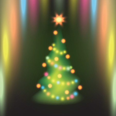 Home Christmas fir tree on colorful background. Vector illustration. Vector