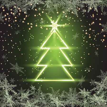 Christmas fir tree on green background. Vector illustration.