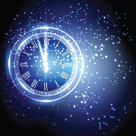 Old clock holiday lights at New year midnight.