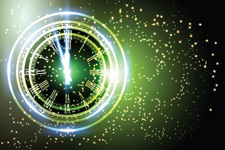 Vecchie luci natalizie orologio Nuovo anno a mezzanotte. Archivio Fotografico - 33038590