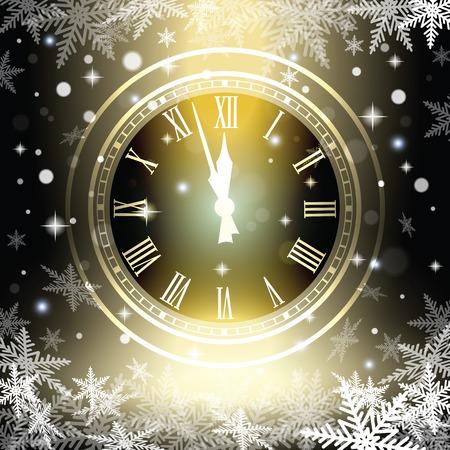 새 해 자정 오래 된 시계 휴가 조명.