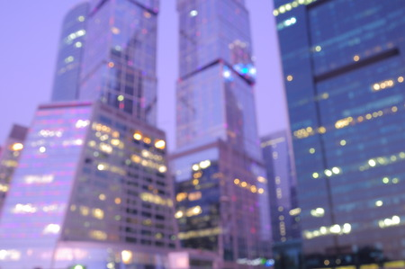 Blurred early morning business city center background. Stock Photo
