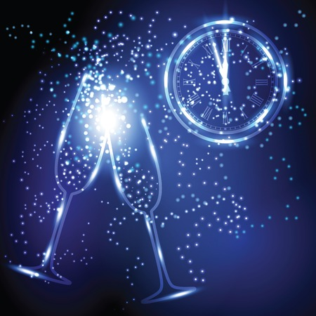 Old clock, pair of wineglasses and sparks in the air at New year midnight hour.
