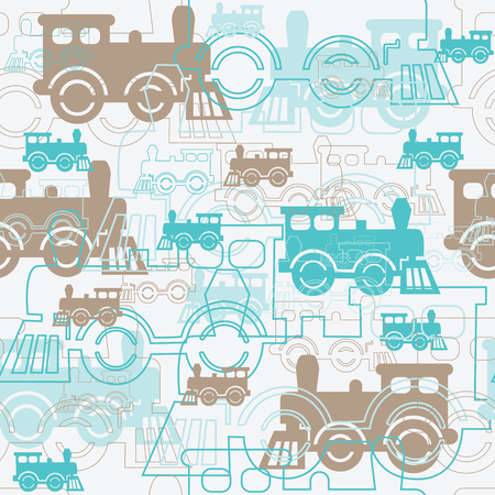 Seamless background with the steam locomotives. Vector illustration.