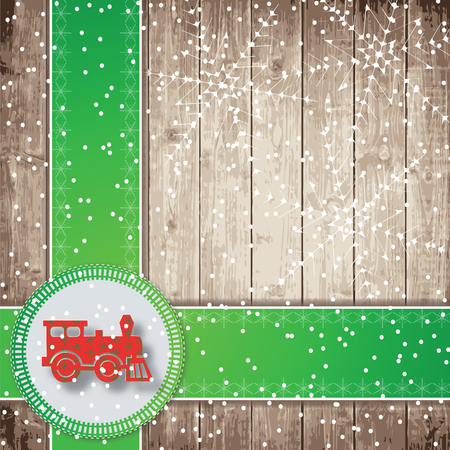 steam locomotive: Steam locomotive, green tapes and snowflakes on the wooden board background. Christmas vector illustration.