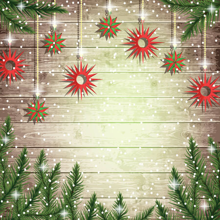 december background: Fir tree branches and hanging toys on the wooden board background. Christmas vector illustration.