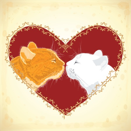 desires: Two beloved cats on the heart shape background. Vector illustration.