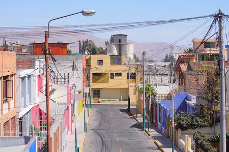 underprivileged: Houses on the streets of the Arequipa at day time. Peru.