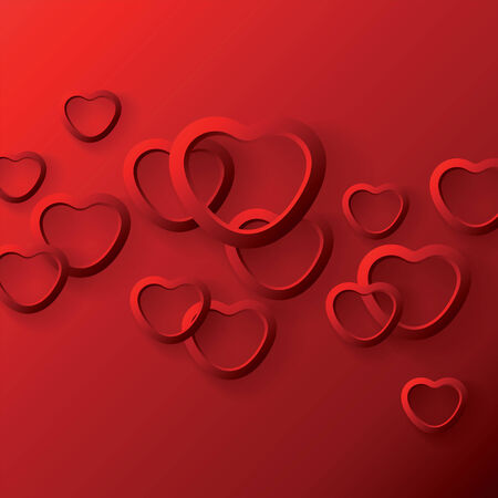 Heart shapes on the red background to the Valentine Illustration