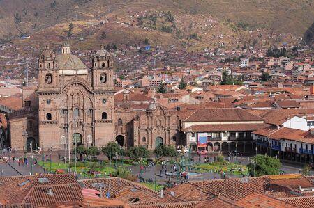 View of the central square In Cuzco, Plaza de Armas. Peru.