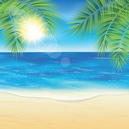 Sand beach and the palm branches at sunset time. Vector illustration.