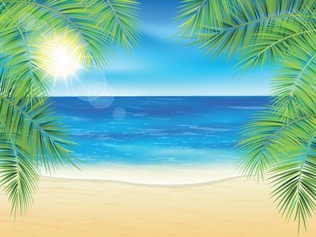 白砂のビーチとサンセット時にヤシの枝。ベクトルの図。