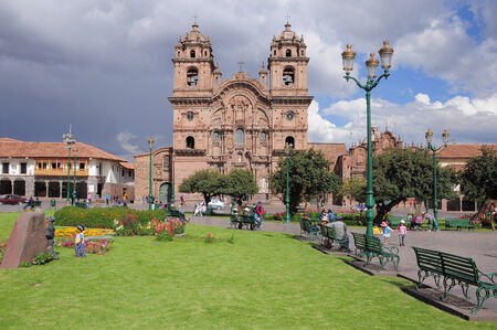 residental: Central square of the city - Plaza de Armas, Cuzco, Peru on May 12, 2013. Editorial