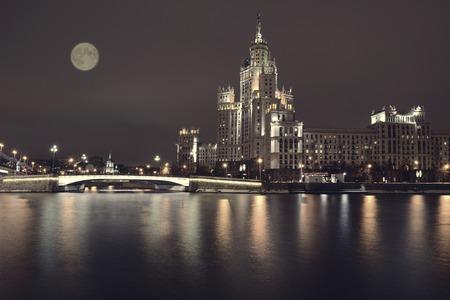 kotelnicheskaya embankment: Kotelnicheskaya Embankment of the Moscow River, Moscow, Russia. Stock Photo