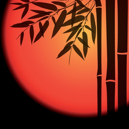 fengshui: Bamboo trees and leaves with red sun on black background.