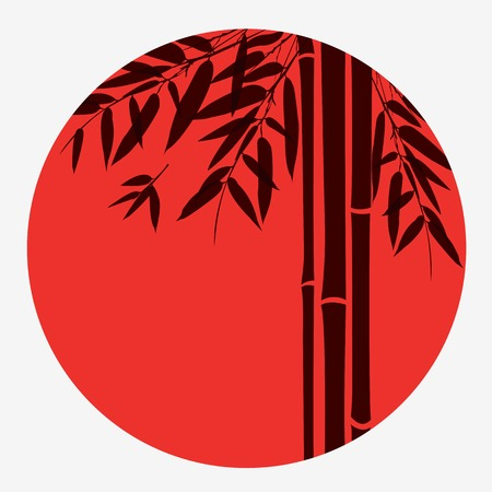 fengshui: Bamboo trees and leaves with red sun on white background. Illustration
