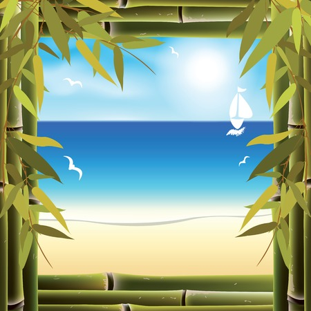 gentle dream vacation: View of the seashore from the resort bungalow window. Vector illustration. Illustration