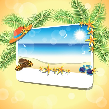 gentle dream vacation: Picture of the sand beach landscape with palm branches on colorful background. Vector illustration.