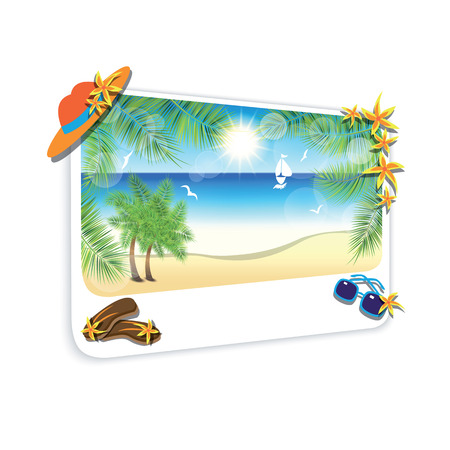 gentle dream vacation: Picture of the sand beach landscape on white background. Vector illustration.