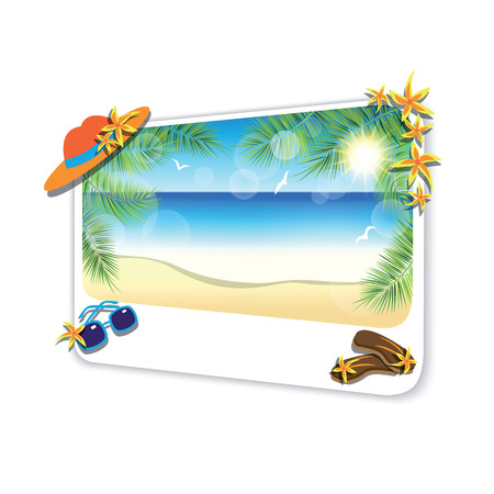 gentle dream vacation: Picture of the sand beach landscape on white background.