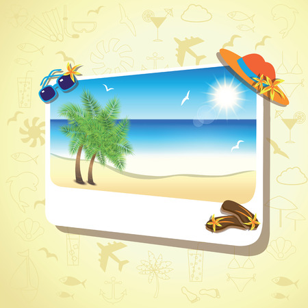 gentle dream vacation: Picture of the sand beach landscape with palm branches on colorful background.