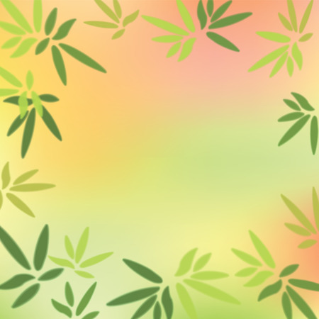 asian gardening: Green leaves on colorful background.  Illustration