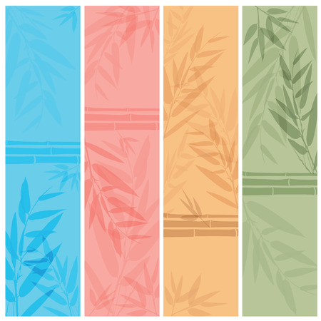 fengshui: Colorful banners with the tree branches. Vector illustration.