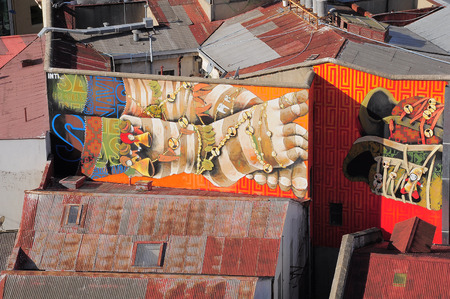 alegre: VALPARAISO, CHILE - MAY 29, 2015: Street art in Concepcion and Alegre districts of the protected UNESCO World Heritage Site of Valparaiso on May 29, 2015 in Valparaiso, Chile. Editorial