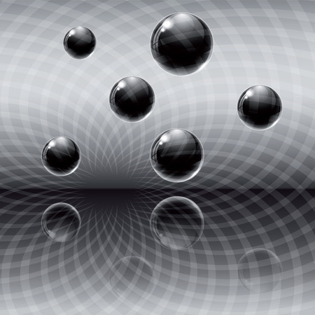 zero gravity: Dark abstract background with black glass balls and theirs reflection. Illustration