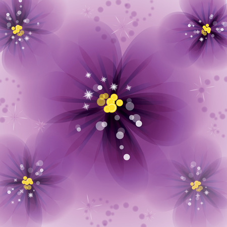 pansy: Pansy flowers on the greeting card. Vector illustration.