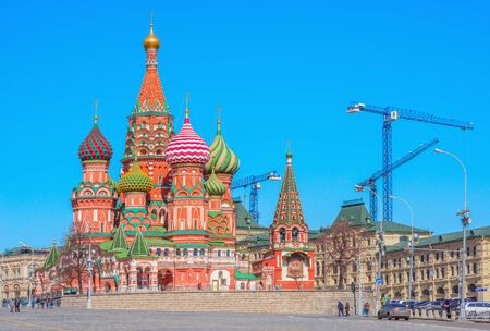 st  basil: Morning view of St. Basil Cathedral on Red Square in Moscow, Russia.