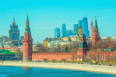 Morning view of the Moscow city center, Russia.
