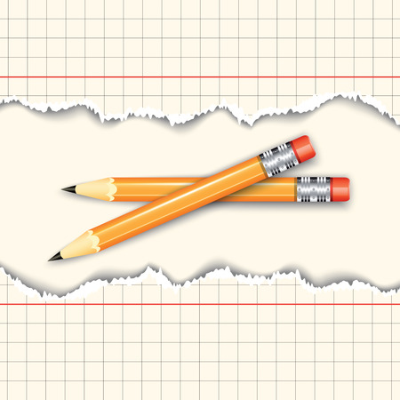 paper sheets: Pair of pencils between two torn paper sheets. Vector illustration Illustration