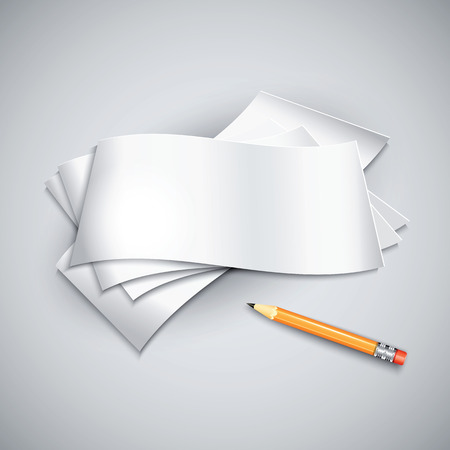 paper sheets: Pencil by the paper sheets. Vector illustration. Illustration