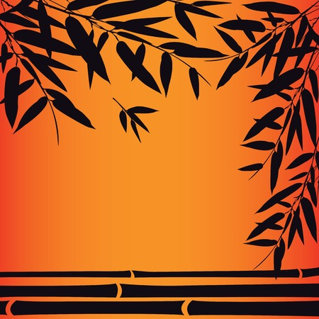 bamboo border: Bamboo trees and leaves at sunset time. Vector illustration. Illustration