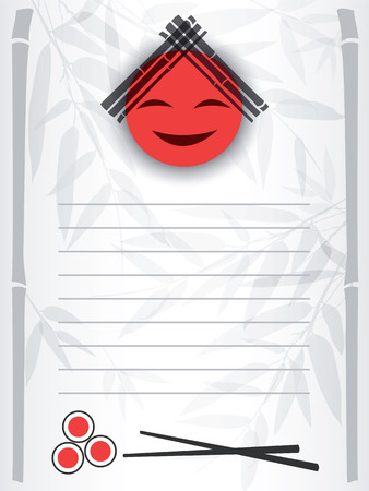 Smiling red sun with bamboo branches and rolls on the menu form. Vector illustration. Vector