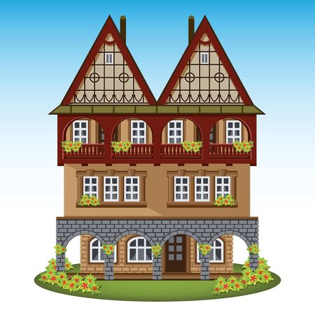 city center: Old style house of historical city center. Vector illustration. Illustration
