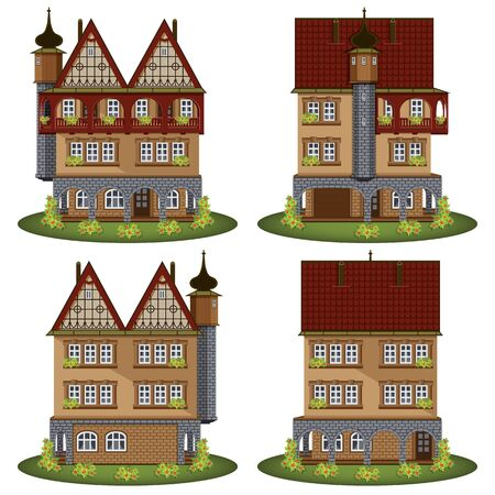 facade building: Set of the old style houses. Vector illustration. Illustration