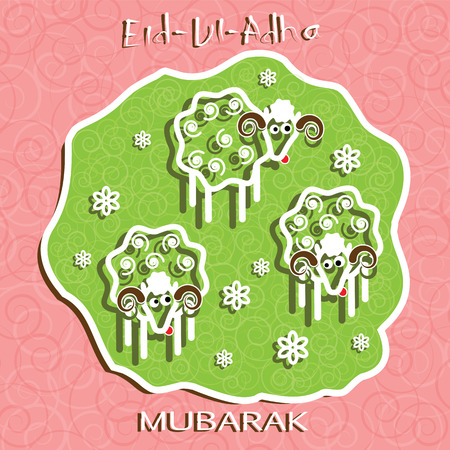 ul: Muslim community festival of sacrifice Eid Ul Adha greeting card. Background with three sheeps.