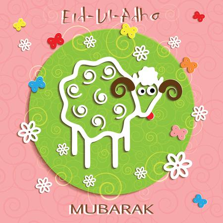 Muslim community festival of sacrifice Eid Ul Adha greeting card. Background with sheep.