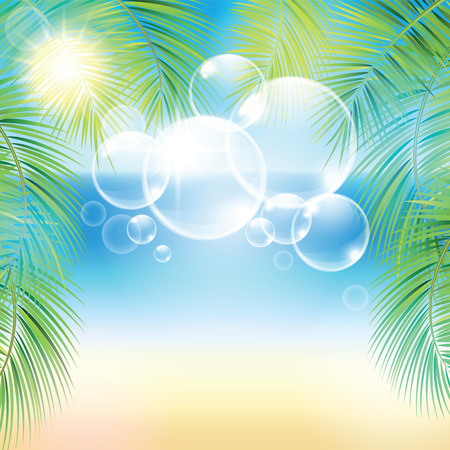 sand beach: Bubbles above the sand beach and the palm branches at sunset time. Vector illustration.