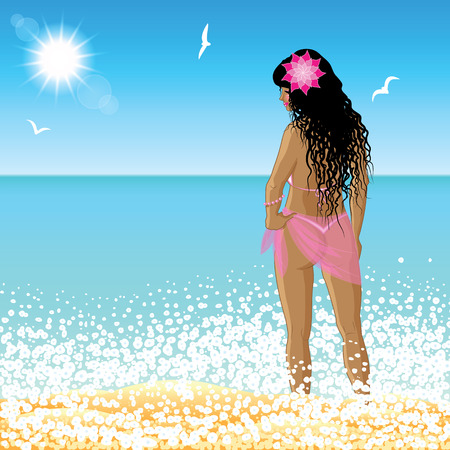 nude model: Young woman stands on the beach at sunset time. Vector illustration.