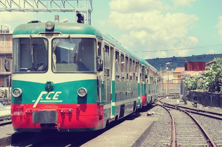 suburbia: SICILY, ITALY - MAY 11, 2012: Trains on the station of the circle railway around Etna volcano, Sicily, Italy, May 11, 2012. Editorial