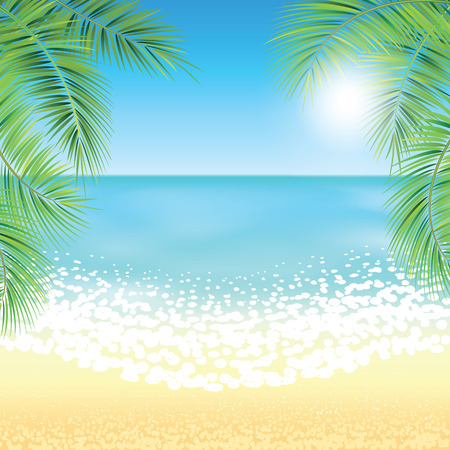 gentle dream vacation: Sand beach and the palm branches at sunset time. Vector illustration.