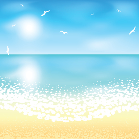 beach sunset: Sand beach at sunset time. Vector illustration.